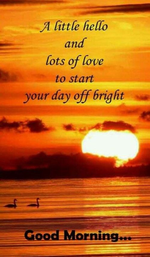 Good morning text on sunset