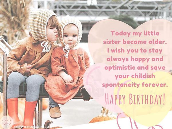 Cute birthday wish for a little sister